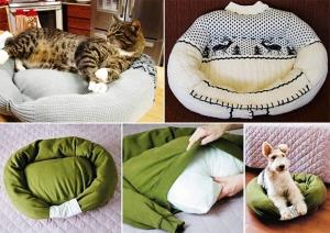 Faire un coussin pour chien avec un pull - Panier pour chien fait maison ...